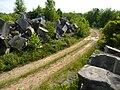 Limestone blocks by a Tapp Road quarry, Bloomington, Indiana - 20100619-04.jpg