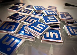 "LinkedIn - Social media websites can also use ""traditional"" marketing approaches, as seen in these LinkedIn-branded chocolates."