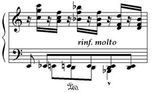 Semitone - Franz Liszt's second Transcendental Etude, measure 63.