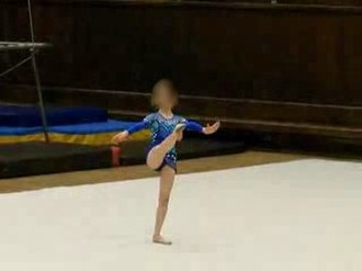 Floor (gymnastics) - Young rhytmic gymnast in floor exercises