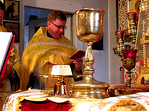 Eucharistic theology - Lamb (host) and chalice during an Orthodox celebration of the Liturgy of St. James