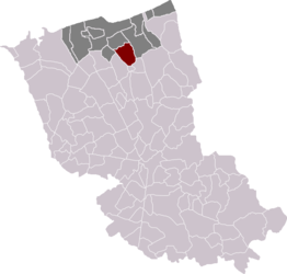 Location of Coudekerque-Village in the arrondissement of Dunkirk