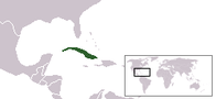 A map showing the location of Cuba