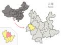 Location of Longyang within Yunnan (China).png