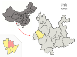 Location of Longyang District (pink) and Baoshan Prefecture (yellow) within Yunnan province of China