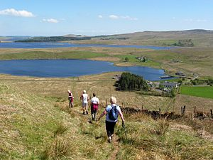 Loch Thom - View from Hillside Hill down to compensation reservoir and Cornalees, with Loch Thom itself further back.