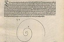 Beschreibung und Freihandzeichnung einer logarithmischen Spirale aus der Underweysung mit dem Zirckel und richtscheyt. (Quelle: Wikimedia)