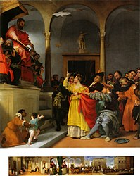 Lorenzo Lotto: Altar of St Lucy, table: St Lucy before the Judge