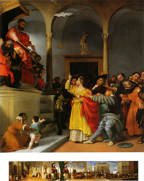Lucy Before the Judge, by Lorenzo Lotto, 1523-32 Lotto, pala di santa lucia 00.jpg