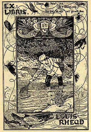 fly fishing book plate from louis rhead  1907    1