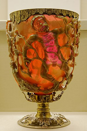 Lycurgus Cup - A view showing parts in both colours, and the variation in the red.
