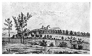 Secularization of monastic estates in Romania - 1860 engraving showing the Cotroceni Monastery and its estate in Bucharest