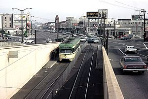 Twin Peaks Tunnel - The (now replaced) east portal of the Twin Peaks Tunnel in February 1967