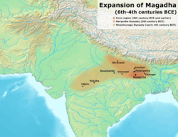 The approximate extent of the Haryanka dynasty between the 6th and 5th century BCE.