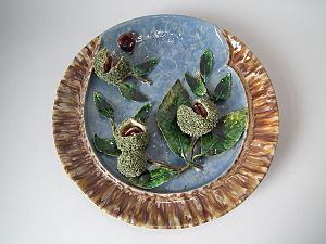 Majolica - Majolica Palissy ware wall-plate, coloured lead glazes, Elias, Portugal