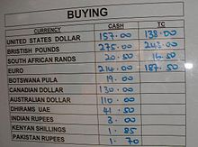 The Exchange Rates List For Malawian Kwacha Note How Traveler S Cheques Are Given A Lower Value Than Regular Banknotes
