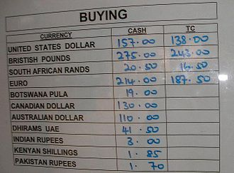Money changer - The exchange rates list for Malawian kwacha. Note how Traveler's cheques are given a lower value than regular banknotes.
