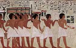 Eighteenth dynasty painting from the tomb of Theban governor Ramose in Deir el-Madinah.
