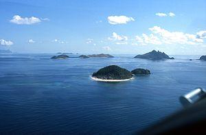 Aerial view of Mamanuca Islands, Fiji