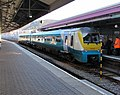 Manchester Piccadilly train at platform 4, Swansea station (geograph 6324018).jpg