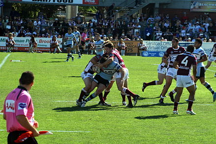 Cronulla attack Manly in August 2009 ManlySeaEagles CronullaSharks Tackle.JPG
