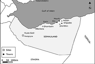 Caves in Somaliland - Map of Somaliland showing the location of the site Prehistoric cave sites, rock shelters and cave paintings in Somaliland.