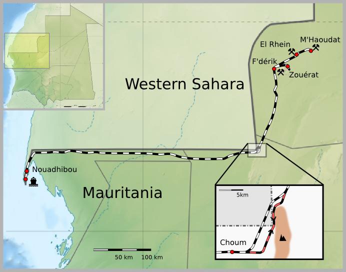 Map Mauritania Railway