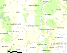 Mapa obce Chevannes-Changy