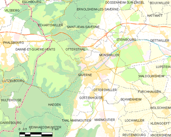Map of the commune of Saverne
