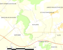 Mapa obce Auvilliers