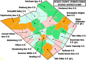 Map of Berks County Pennsylvania School Districts.png