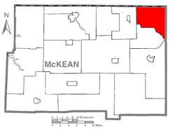 Map of McKean County, Pennsylvania highlighting Ceres Township