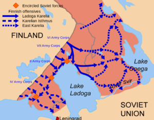 Finnish reconquest of the Karelian Isthmus (1941) - Map depicting the Finnish offensive operations in Karelia carried out in the Summer and Autumn of 1941 during the Continuation War. The furthest advance of Finnish units in the Continuation War and borders for both before and after the Winter War are shown.