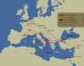 Map of First Crusade - Roads of main armies-fi.png