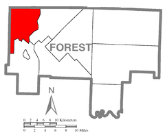 Map of HarmonyTownship, Forest County, Pennsylvania Highlighted.png