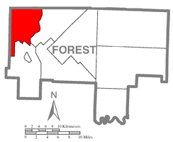 Map of Forest County, Pennsylvania highlighting Harmony Township