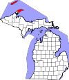 State map highlighting Keweenaw County