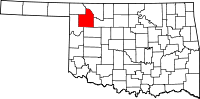 Map of Oklahoma highlighting Woodward County