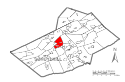 Map of Schuylkill County, Pennsylvania Highlighting Cass Township