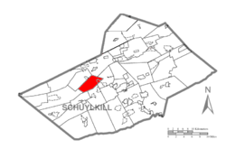 Map of Schuylkill County, Pennsylvania Highlighting Foster Township