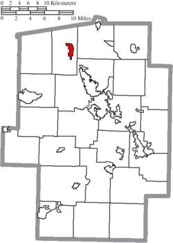 Location of Strasburg in Tuscarawas County