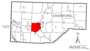 Vernon Township, Crawford County, Pennsylvania - Image: Map of Vernon Township, Crawford County, Pennsylvania Highlighted