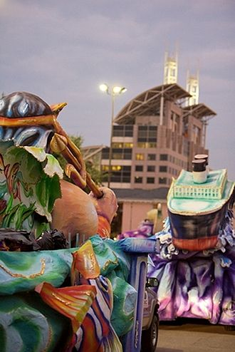 Mardi Gras in Mobile, Alabama - Floats lining up for an Order of Inca parade in 2007.