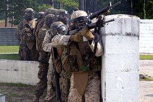 Wax bullet - US Marines use Simunitions during urban warfare training.