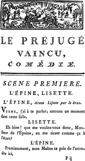 Le Préjugé vaincu - Image: Marivaux Defeated Bias