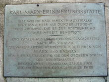 Targa ricordo di Marx a Berlino-Stralau