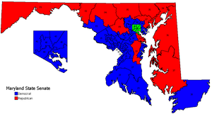 A map of Maryland showing the 47 Senate districts colored blue for districts controlled by Democrats and red for districts controlled by Republicans; it shows Democratic control of districts in southern and central Maryland, especially in Baltimore and suburban areas, with Republicans controlling the Eastern Shore and western Maryland