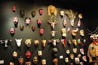 Mexican mask-folk art - Masks on display at the Museum of Popular Art in Mexico City.