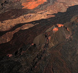 Fissure vent - Mauna Loa with different lava flows and fissure vent