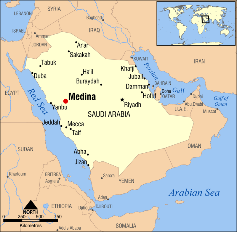 Karta som visar Medinas och Mecka, nutida gränser